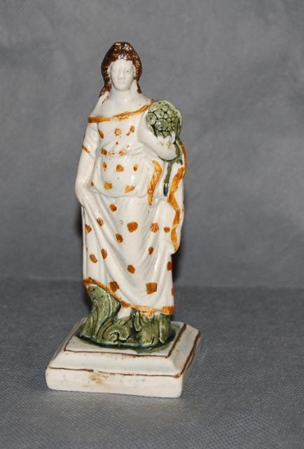 Antique English Pottery Pearlware Prattware Figure of a Lady Early 19th Century