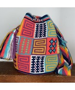 Authentic 100% Wayuu Mochila Colombian Bag Large Size Gorgeous Colors Blend - $85.14
