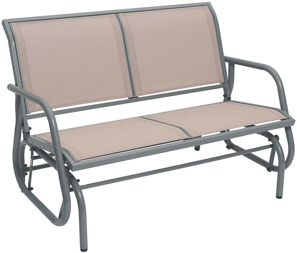 Outdoor Swing Glider Chair Patio Bench 2 Person Garden Loveseat Rocking Seat Tan
