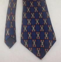 "Peterborough Row, Bloomingdales Necktie 4""x60"", 100% Silk, Blue, EUC - $13.86"
