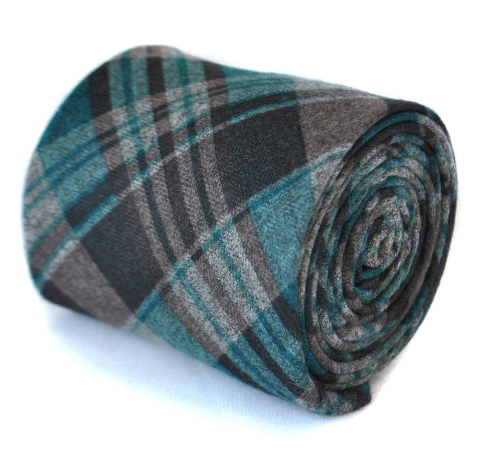 Frederick Thomas skinny mens wool tweed tie in turquoise & grey check FT2083