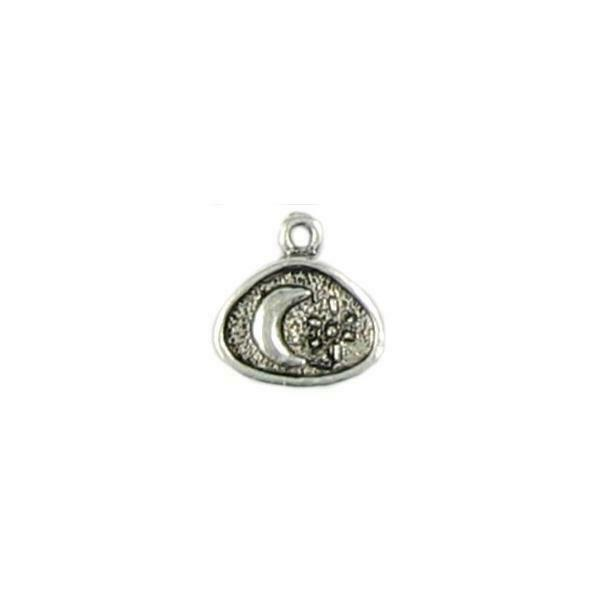 GRANULATED MOON ON ROUNDED TRIANGLE FINE PEWTER PENDANT CHARM - 15x16x3mm