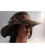 Women's Brown Straw Wide Brim Floppy Hat Sunhat w Tie & Metal Art Pin Fl... - $67.99