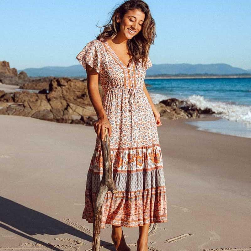 Loral print beach bohemian dress women ladies v neck short bat sleeve summer dress female tassel