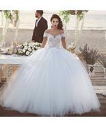 Vintage Princess Wedding Dresses Tulle Ball Gown Off The Shoulder - $330.00