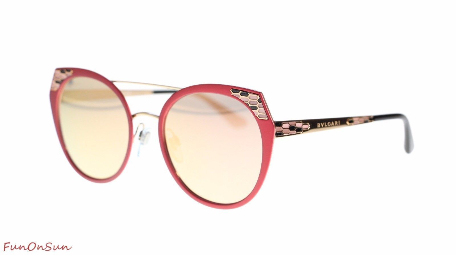BVLGARI Women's Sunglasses BV6095 20274Z Matte Pink/Grey Mirror Rose Gold Lens 5