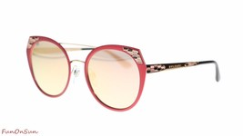 BVLGARI Women's Sunglasses BV6095 20274Z Matte Pink/Grey Mirror Rose Gold Lens 5 - $257.05