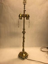Vintage brass table lamp with shade 4 feet 2 bulbs chin carved Mid Centu... - €90,80 EUR