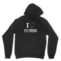 I Heart Fly Fishing Shirt Outdoor Sporting Hobby Unisex Black Hoodie Sweatshirt - $24.95+