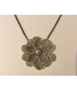 Flower Pendant Chain Necklace Unique Handmade Fabric Floral Pearl Pink G... - $40.00