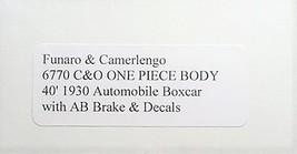 Funaro F&C HO C&O 40' 1930 Automobile Box Car ,Kit 6770 image 3