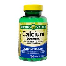 Spring Valley Calcium 600mg Plus Vitamin D3 20mcg, Bone Health, 100tablets - $14.83