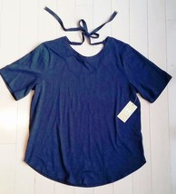 $110 Michael By Michael Kors Back Tie Cotton Blend Tee Shirt Top Real Navy (S) - $60.78