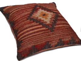 Handmade Kilim Cushion Cover Diamond Maroon Ethnic Rustic Indian Morocca... - £23.61 GBP