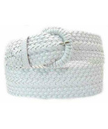 """Wide White Braided Belt for Women Leather 3""""  Cinch Fashion Dress Casual... - $15.00"""