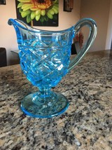 VINTAGE BLUE GLASS PITCHER VASE ON STEM WITH HANDLE - $17.75