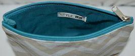 Ganz Brand ER39002 Chevron Design Beige Tan Teal Zipper Makeup Bag image 4