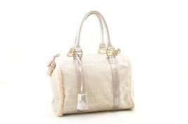 FENDI Zucchino Canvas Hand Bag White Auth ar515 - $398.00