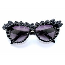 Women Sunglasses Black Flower Retro Cat Eye Oversize Ladies Fashion Sung... - $16.99