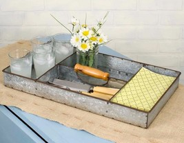 Industrial Galvanized Replica Anderson Tray Barn Roof Gray 4 compartment... - $42.95