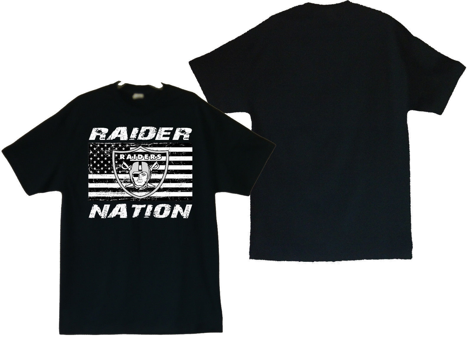 Primary image for Raider Nation With US Flag Image Men's Black T-Shirt