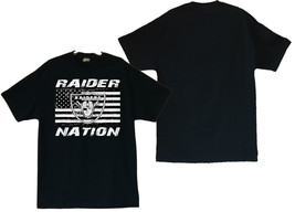 Raider Nation With US Flag Image Men's Black T-Shirt - $20.78+