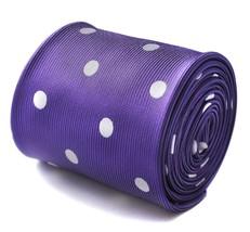 Frederick Thomas Designer Mens Tie - Dark Purple - Polka Dot Wedding Nec... - $15.90