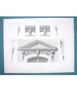 ARCHITECTURE PRINT 1869 - PARIS Baroque Hunting Pavilion Ornamental Details - $16.20