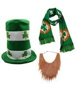 St Patrick's Day Irish Shamrock Party Costume Suit Hat Bow Bow Tie Beard... - £14.02 GBP