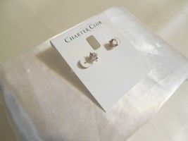 "Charter Club 1/4"" Gold Tone Simulated Diamond Stud Earrings B721 - $12.47"