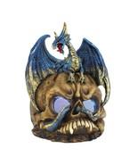 FIERCE BLUE DRAGON on Skull Gothic Metallic Accents LED Light Up - $24.97