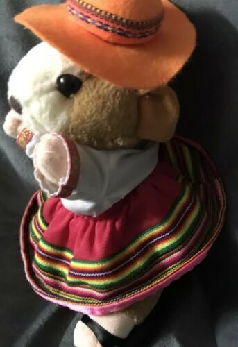 "Gemmy Hamster Mexican Spanish Dressed Girl Dress plush Doll 10"" Rare Gift!"