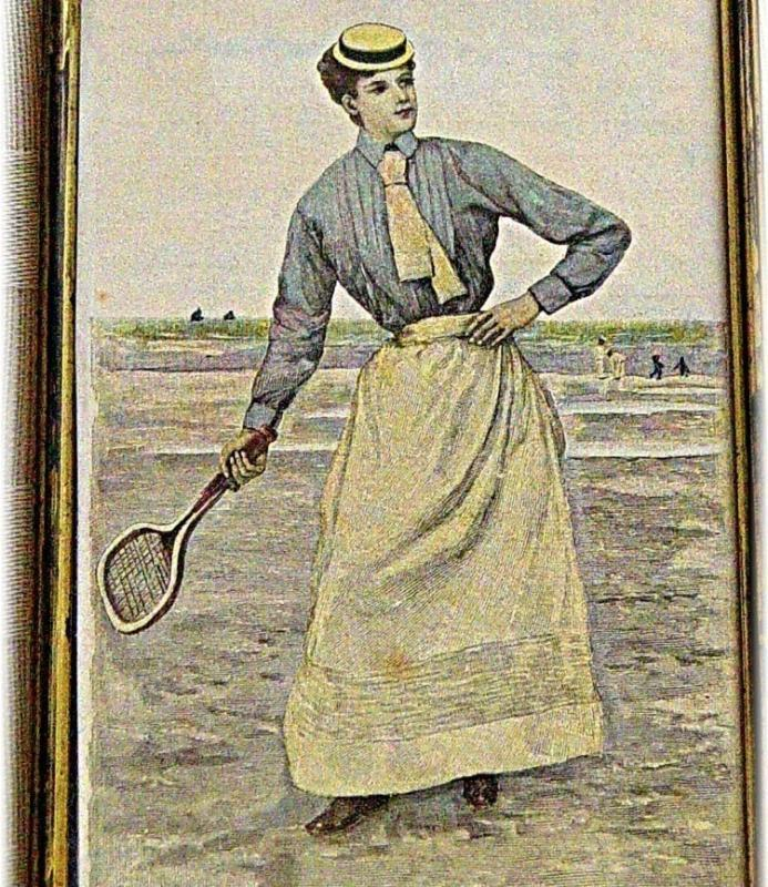 Tennis Xylography woodcut 1890 Tennis Player Lady Englih Wimbledon