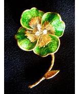 VINTAGE TIFFANY 18K ENAMEL & DIAMONDS FLOWER PIN - $3,448.51