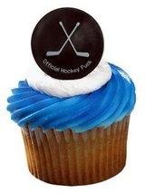HOCKEY PUCK Cupcake Rings Cake Toppers Birthday... - $2.25