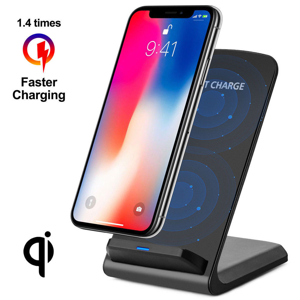 Qi Wireless Charger 10W Fast Charging Pad Station Samsung Galaxy Note 9 8 S8