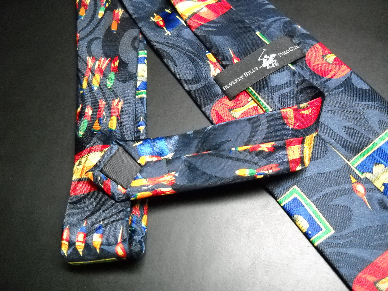 Beverly Hills Polo Club Neck Tie Fishing Theme Colorful Fish Lures on Dark Blue