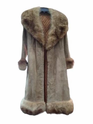 Vintage Women Long Suede Leather Fur Trim Coat Full Length Brown 70s Trench Belt
