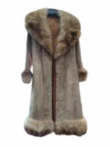 Vintage Women Long Suede Leather Fur Trim Coat Full Length Brown 70s Trench Belt image 1