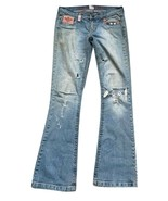Industrial Destroyed Distressed Frayed Flared Jeans Size 7 Embroidery Bo... - $53.99