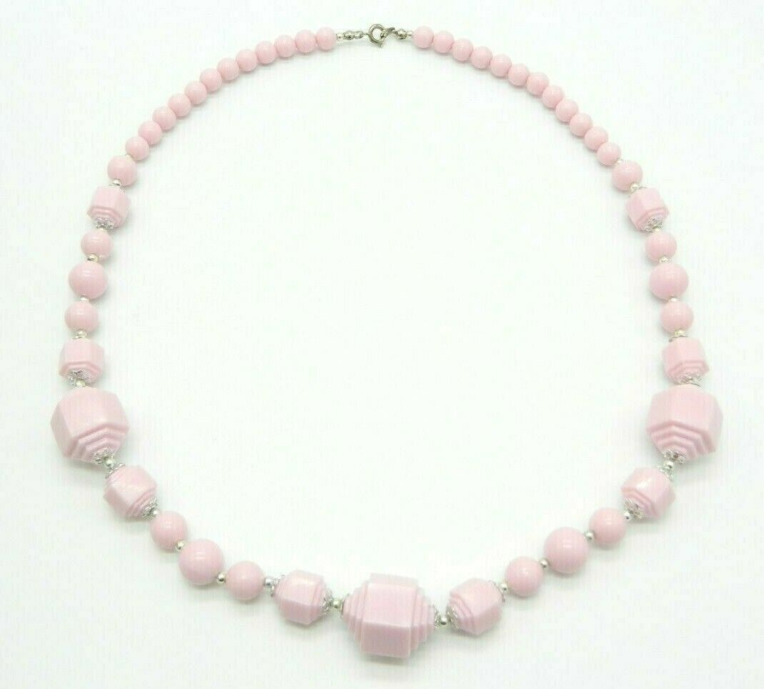 Primary image for Pink Geometric Acrylic Bead Beaded Silver Tone Vintage Necklace