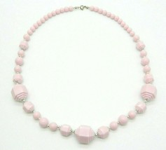Pink Geometric Acrylic Bead Beaded Silver Tone Vintage Necklace - $19.79