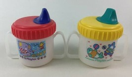 Playtex Sippy Cup Toddler Decorated Spill Proof Baby Lot of 2 Vintage 90s - $31.14