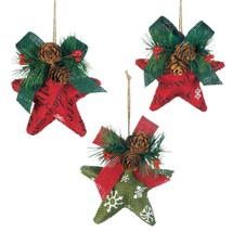 Christmas Ornaments, Rustic Red And Green Stars Beautiful Christmas Orna... - $31.99