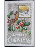 Early Divided Back, Embossed Christmas Postcard, A Merry Christmas, Blue... - $6.00