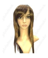 Long Synthetic Straight Hair Hairpiece Wig - Tilted Bangs - $29.90