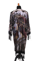 DeLuxe Black Vintage Velvet&Silk Beaded Mucha Astrologer Boho Kimono - $229.99