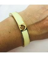 Kate Spade Beige Enamel Gold Tone Bangle Bracelet Magnetic Catch Spade C... - $39.59