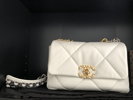 Goatskin Quilted Medium Chanel 19 Flap White - $5,950.00