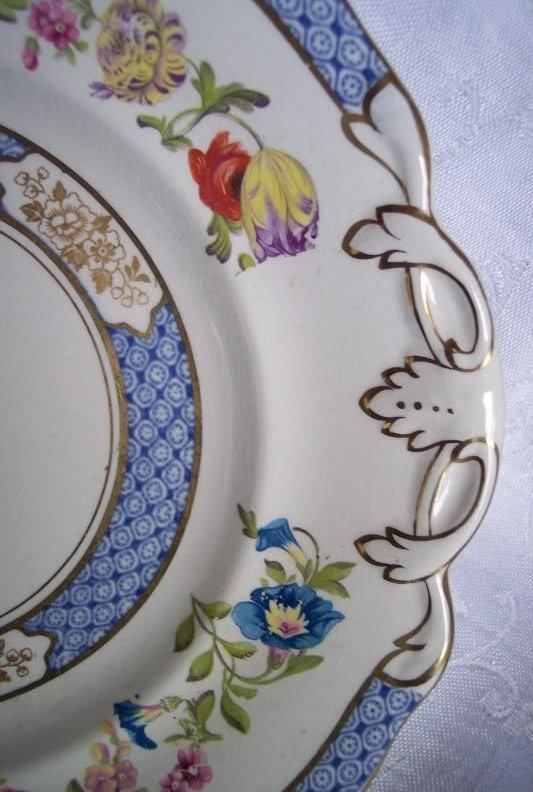 Vintage Flow Cobalt Blue Plate Cabinet Cake England Swansea Painted Roses